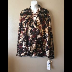 Jones NY burgundy/gold ruffled blouse size 18W